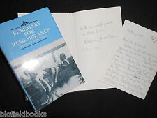 SIGNED + ALS: Rosemary for Remembrance by Rosemary Anne Sisson - 1995-1st Poetry