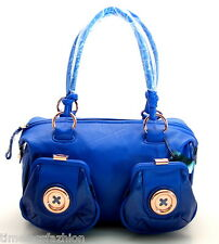 MIMCO METAL BUTTON ZIP TOP LEATHER BAG IN DELFT BLUE BNWT RRP$450