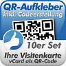 QR Code Aufkleber, Ihre Visitenkarte als QR-Code, 10 Stück, 10x10 cm, wetterfest