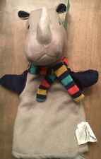 NWT Children's Theater Puppets Rhino Rhinoceros Hand Puppet 8 1/2 X 11