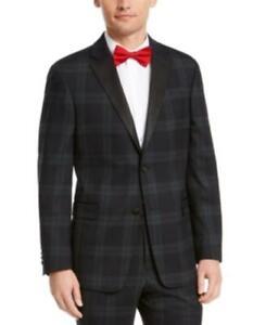 $450 Tommy Hilfiger Modern-Fit THFlex Stretch Plaid Suit Jacket Green 36 R/M37.5