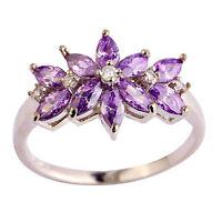 Nice White Topaz Amethyst Gemstone Jewelry Silver Women Ring Size 6 7 8 9 10