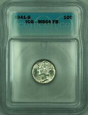 1941-S Mercury Silver Dime 10c Coin ICG MS-64 Full Bands FB (A)