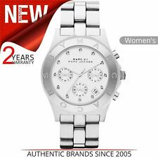 Marc Jacobs Blade Series Ladies Watch MBM3100¦Chronograph White Dial¦Stainless