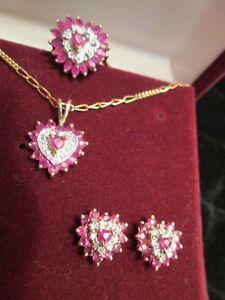 """Ruby & Diamond Heart 14K Y/W Gold 3 Piece Ring Earring Pendant 20"""" Chain Set"""