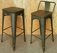 TOLIX TARNISHED METAL BAR STOOL WITH BACK WOOD SEAT RETRO BISTRO CAFE RESTAURANT