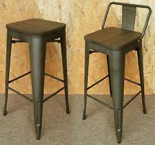 TOLIX ternie en métal tabouret de bar avec dos bois siège rétro Bistro Cafe Restaurant