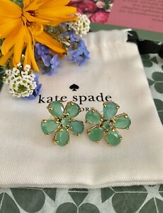 PRETTY Kate Spade New York FIORELLA FLOWER EARRINGS Giverny Green Crystals Gold