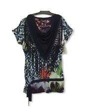 DESIGUAL WOMEN'S TOP SIZE L BLOUSE COWL NECK SHORT SLEEVE  FRINGED SHIRT NWT