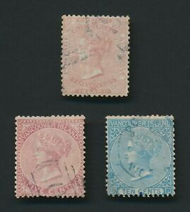 BC & VANCOUVER ISLAND STAMPS 1860-1865 QV SG #3 USED & #13/14 FU CLASSICS