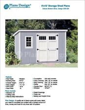 6' x 12' Deluxe Back Yard Storage Shed Project Plans, Modern Roof Style #D0612M