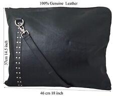 Genuine Leather Women Office Messenger Bag Laptop Bag Black New by JL