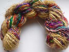 Sari Silk Luxury Yarn 100g Gold/Purples/Orange/Multi,  Weave/Crochet/Knit/Crafts