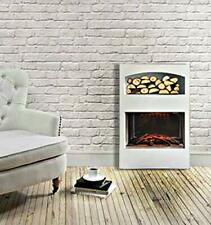 White Electric Fireplace With Log Storage & LED Flame Effect Wall Mounted Fire