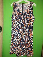 5365) NWOT MICHAEL KORS medium navy blue geometric poly knit dress new M