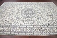 VINTAGE 7'x10' Floral WOOL/SILK IVORY Nain Naeen Oriental Area Rug Hand-Knotted