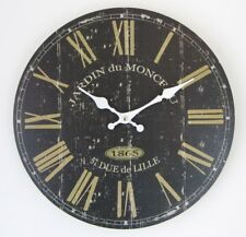 34 CM BLACK & GOLD  FRENCH STYLE ANTIQUE EFFECT WALL CLOCK