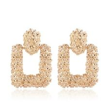 Brand New Gold Raised Large Metal Zara Blogger Style Stud Earrings Uk Er
