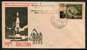 Bhutan Honors American Rocket Despatch To Moon Apollo- 8 Rare Cancelled Sp Cover