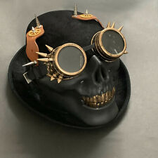 Skull Mens Punk Steampunk Hat Vintage Gothic Goggles Party Black Top Hat
