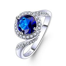 Fashion Silver Ring With Blue Sapphire Stone Gems Crystal Jewelry Free Shipping