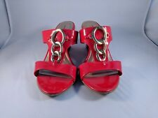 Comfort Plus Predictions Heeled Glossy Red With Gold Color Chain Links Size 8
