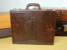Genuine Crocodile Leather Vintage French Made Hard Case Briefcase Bag Mens