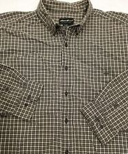 Eddie Bauer Men's L/S Button Down Shirt XXL Grayish Green Beige Check Cotton EUC
