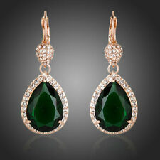 Rose Gold Plated Shiny Green CZ Clear Stones Water Drop Dangle Earrings Jewelry