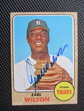 1968 Topps #160 Earl Wilson Autograph Card Detroit Tigers World Champions Rare!!