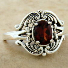 Style Ring Size 10, #1012 Genuine Garnet 925 Sterling Silver Antique