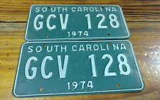 Pair South Carolina 1974 license plates tags