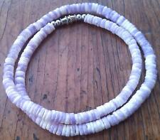 Light Purple & White Puka Clam Shell Beads Beach Surfer Necklace 171/2 inch