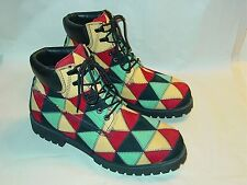 Mens Rare GBX Multi Colored Leather Quilt Stitch Patchwork Boots Size 15 M