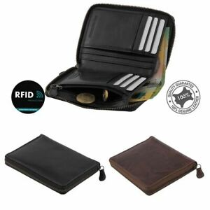 Unisex Men's Women's RFID Genuine Leather Wallet Zipper Clutch Purse Rugged