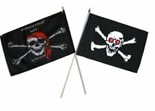 "12x18 12""x18"" Wholesale Combo Pirate Surrender Booty & Red Eye Skull Stick Flag"
