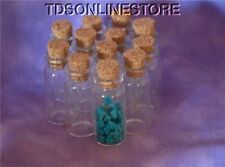 12 GLASS CORKED BOTTLES FOR GEM STORAGE OR BEADS ETC.