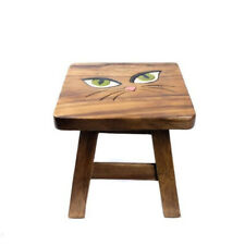 """Wooden Childs Stool 10"""" with Cat's Eyes Design Furniture Home Decor."""