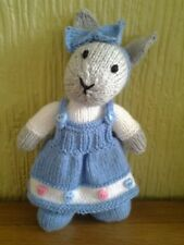 HAND KNITTED BUNNY RABBIT TOY WITH BLUE DRESS