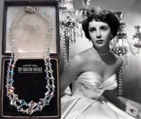 VINTAGE EXQUISITE AURORA BOREALIS CLEAR CRYSTAL DOUBLE STRAND NECKLACE SIGNED