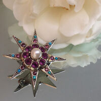 Antique Victorian Silver and paste stone Star burst brooch