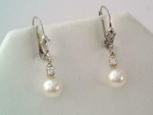 VINTAGE SOLID 14K WHITE GOLD DIAMOND & PEARL DROP DANGLE EARRINGS