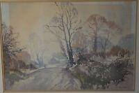 Albert Houghton AMC FRSA Watercolour of a Farmstead Amid Winter Trees