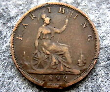 GREAT BRITAIN QUEEN VICTORIA 1890 FARTHING, BRONZE