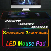 ❤ Extended RGB Colorful LED Lighting Gaming Mouse Pad Keyboard Mat for PC Laptop