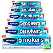 6x sabiduría fumadores fluoruro Extra Menta Fresca Anti Mancha Blanqueamiento Pasta de dientes 50ml