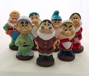 Vintage Walt Disney The 7 Dwarfs Rubber Squeeze Figurines Bath Toys
