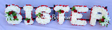Artificial Silk Funeral Flower Any 6 Letter Sister Wreath Memorial Tribute Grave
