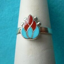 ZUNI NATIVE AMERICAN TURQUOISE & CORAL CHANNEL INLAY RING SIZE 6 1/2  STERLING