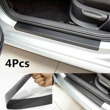 Car Black Carbon Fiber Scuff Plate Door Sill Cover Panel Step Protector Guard 4x